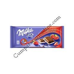 Ciocolata Milka cu capsuni si iaurt 100 gr.
