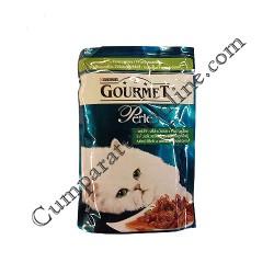 Hrana umeda pisici sos vanat cu legume Gourmet Perle 85 gr.