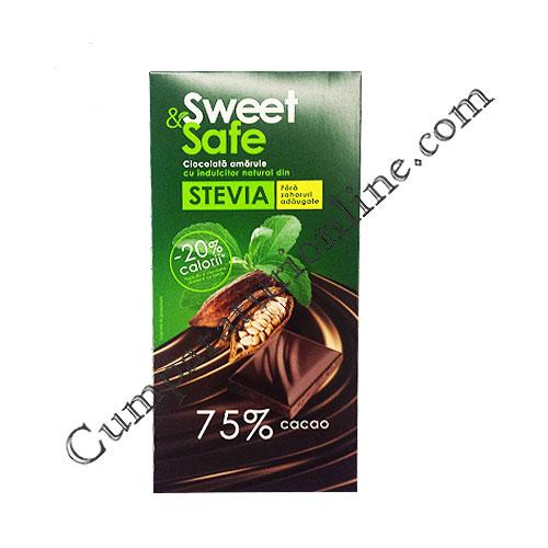Ciocolata amaruie cu indulcitor Stevia Sweet&Safe 90 gr.