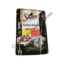 Hrana umeda pisici pui si vita cu sos Sheba Selection 85 gr.