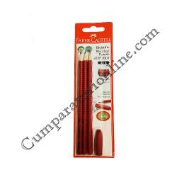 Set 3 creioane Faber Grafit Grip radiera diverse culori