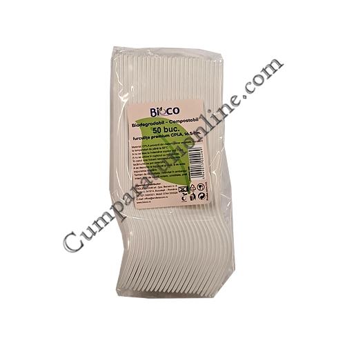 Furculite biodegradabile premium CPLA 16,5 cm Bioco 50 buc.