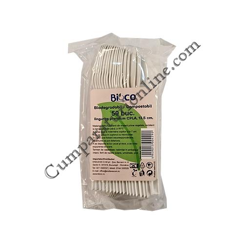 Lingurite biodegradabile premium CPLA 12,5 cm Bioco 50 buc.