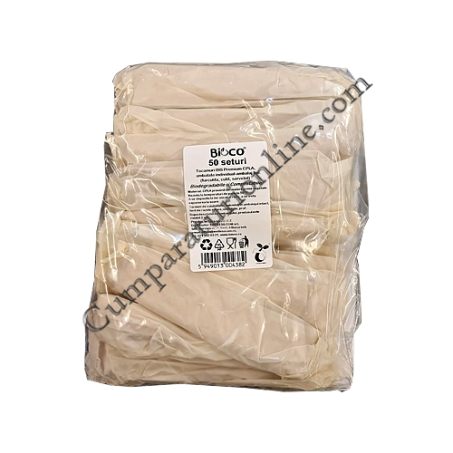 Set tacamuri BIS Premium CPLA ambalate individual biodegrabile Bioco 50 buc.