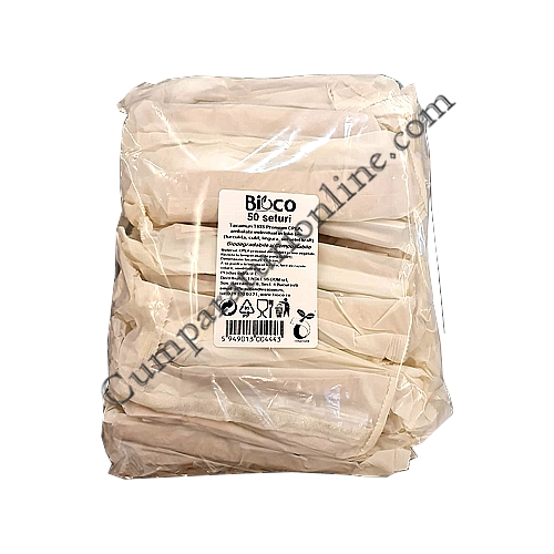Set tacamuri TRIS Premium kraft CPLA ambalate individual biodegrabile Bioco 50 buc.