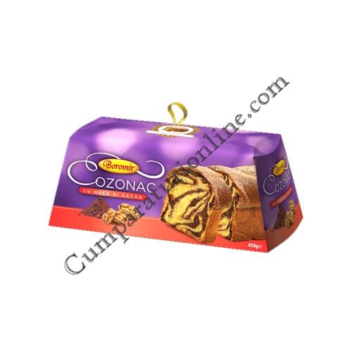 Cozonac cu nuca si cacao Boromir 450 gr. cutie